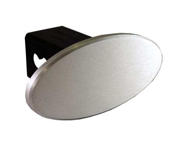 Defenderworx 2-Inch Billet Hitch Cover 3.5-Inch Oval with Blank Brushed Logo Universal - 25221