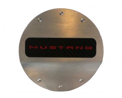 Defenderworx Red Logo Fuel Door - Brushed Ford Mustang 2015 - 901400