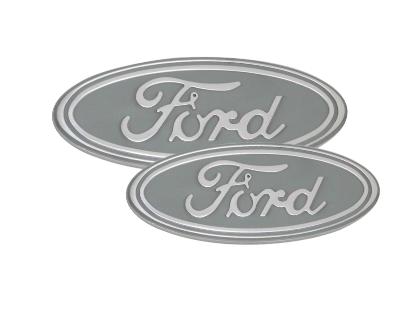 Defenderworx Set of 13-Inch Oval Grille Emblem 7-Inch Tailgate Emblem Silver Ford F-350 Super Duty 13-15 - 98422