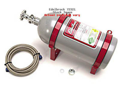 Edelbrock 10 lbs.Silver Powder Coated Nitrous Bottle Kit with Polished - 72321