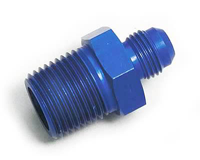 Edelbrock 6 AN Flare to 1/2 NPT Pipe Blue Fitting-Straight - 76543