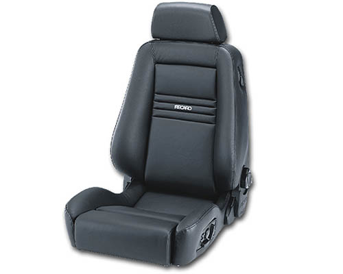 Recaro Ergomed ES Left Seat Black Leather and Vinyl|Black Leather Grey Logo - 154.20.1541