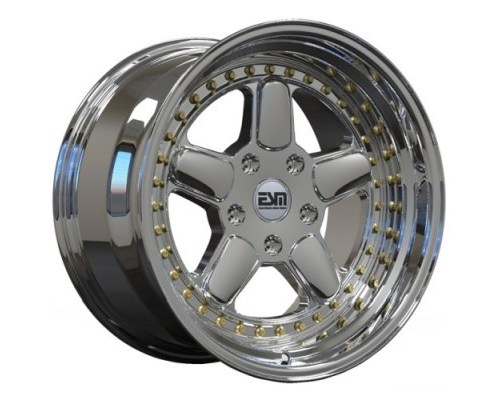 ESM Wheels Platinum Chrome/Gold Rivet ESM-005R Cast Wheel 17x10 5x120 +15mm - ESM-005RPLGR17X10-5X120