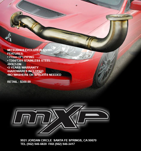 MXP Stainless Pre-Cat Downpipe Mitsubishi Evolution VIII IX MR 03-07 - MXDPCT9A