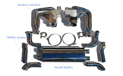 Fabspeed RSR Header Muffler Kit without Heat with Competition Muffler Outlets without Sport Cats Porsche 964 Carrera 89-94 - FS.POR.964.RSRWOH