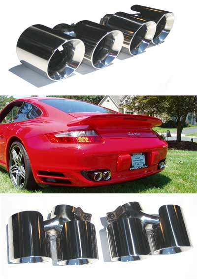 Fabspeed Deluxe Quad Style Tips|Polished Chrome Porsche 997 Turbo 07-09 - FS.POR.997T.QDTP