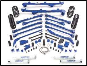 Fabtech 6in Long Arm System with Front Coilovers and Rear Coil Springs Jeep Wrangler TJ 97-02 - K4017