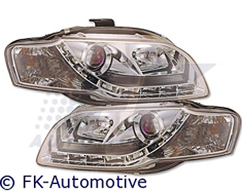 FK Auto Daylight-Design Chrome Headlights w/o Motor Audi A4 (8E) 05-07 (Euro)