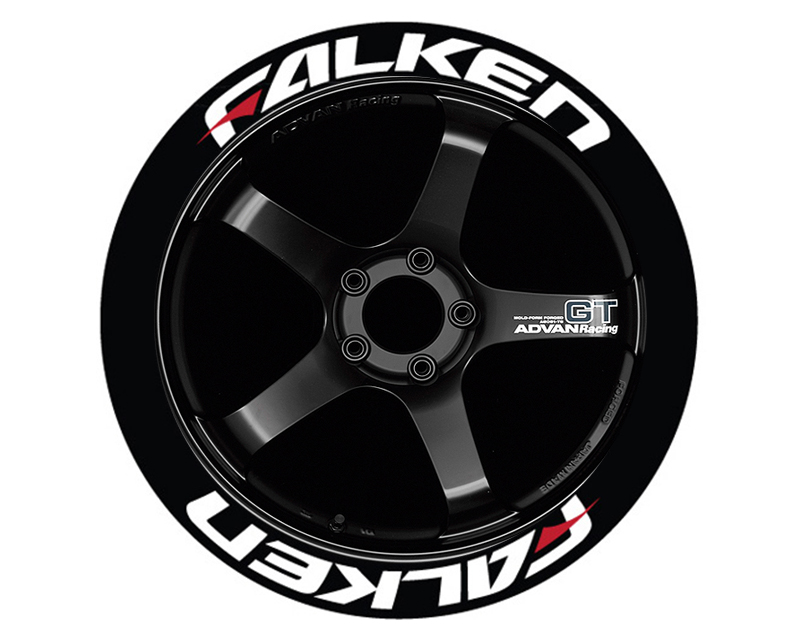 Tire Stickers Permanent Raised Rubber Lettering 'Falken Red Dash - TS-FALKEN-RD-RR