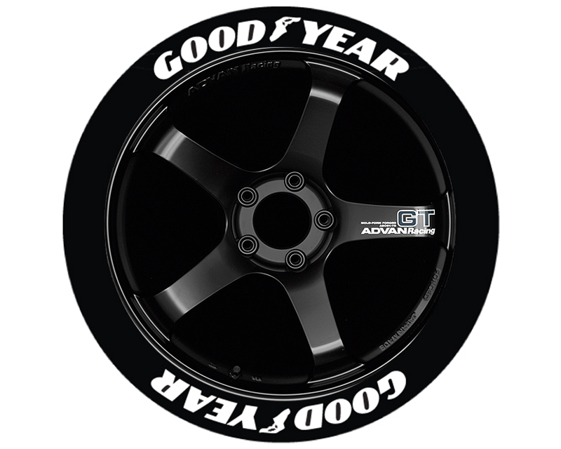 Tire Stickers Yellow Permanent Raised Rubber Lettering 'Goodyear' with logo - TS-GOODYEAR-RR