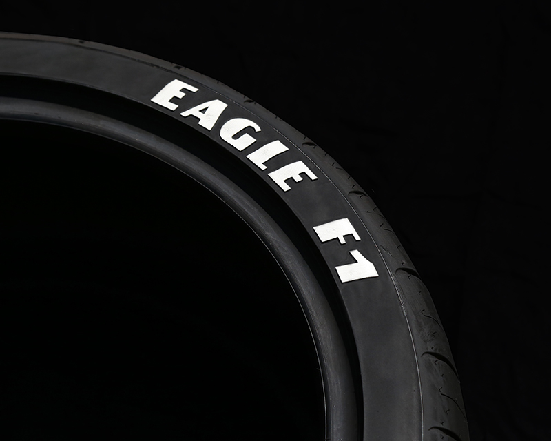 Tire Stickers Permanent Raised Rubber Lettering Goodyear 'Eagle F1' with logo Set of 4 - TS-EAGLEF1-RR