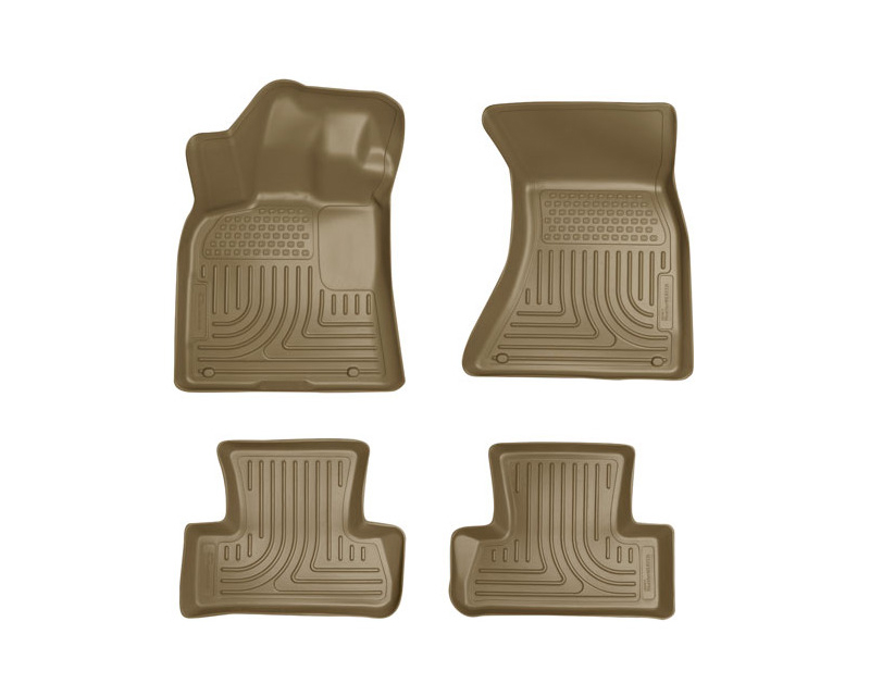 Husky Liners Front & 2nd Seat Floor Liners Weatherbeater Series Tan Audi Q5 09-14