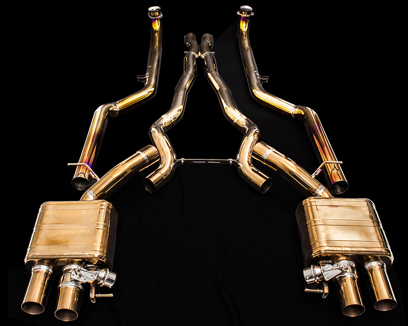 IPE Titanium Valvetronic Exhaust System with Quad Polished Tips and Remote BMW M5 F10 12-16 - BM011TI