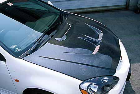 JUN Carbon Fiber Hood Acura RSX Type R DC - Acura rsx hood