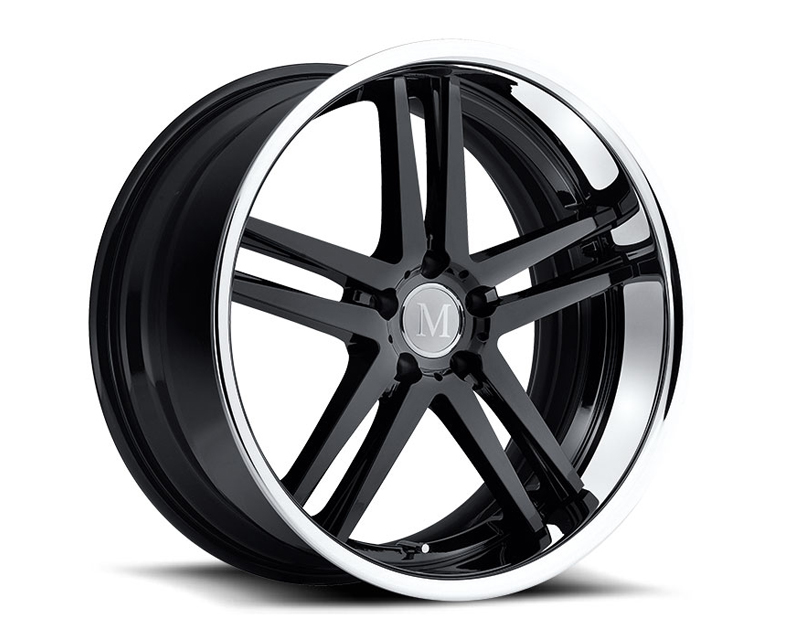 Mandrus Simplex Gloss Black with Chrome Stainless Lip Multi-Piece Wheel 22x10.5 5x112 +42mm - MA-2205MAP425112B66