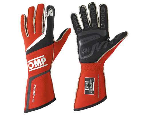 OMP ONE S Racing Gloves Red | LG - IB/755/R/L