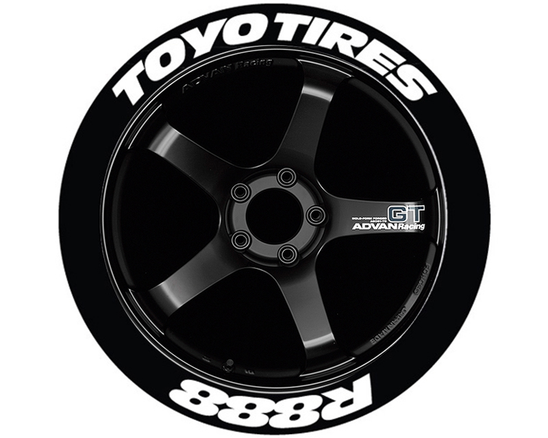 Tire Stickers 'Toyo Tires R888' Permanent Raised Rubber Lettering - TS-TOYOR888-RR