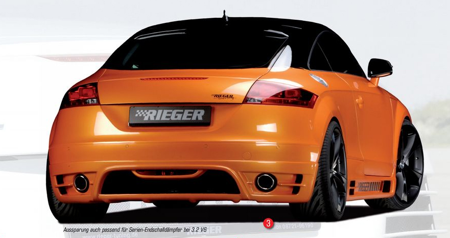 Rieger Rear Skirt w/ Intakes for Single Tips Audi TT 8J 07-12 - R 55155