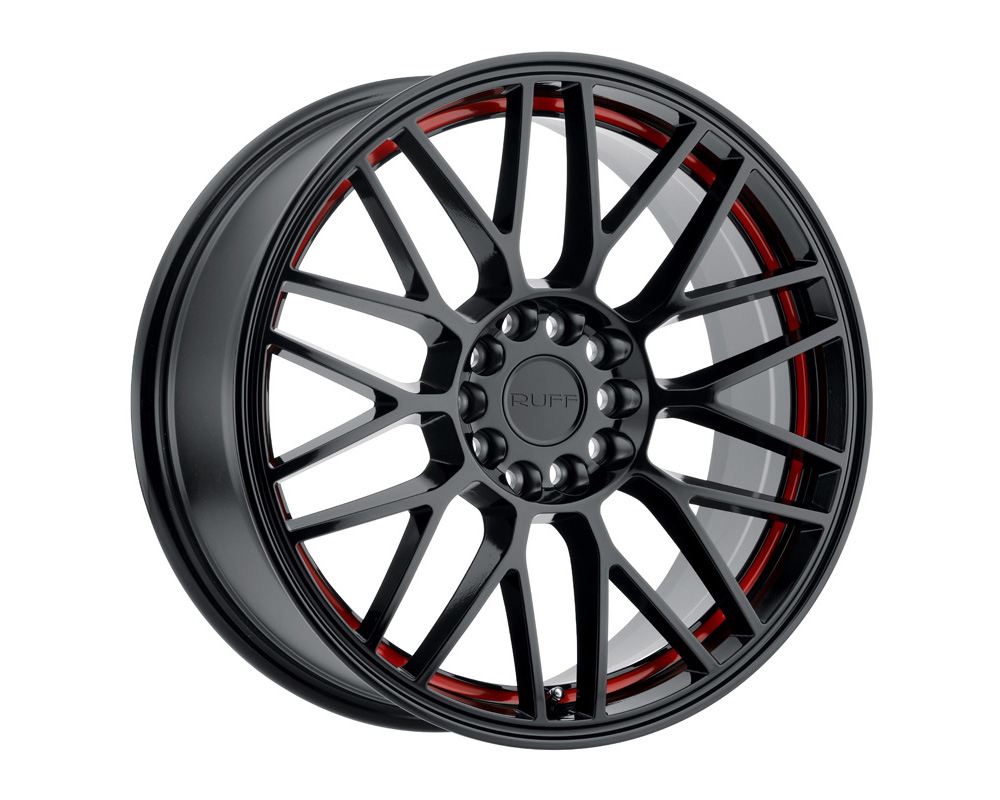 RUFF Overdrive Gloss Black W/Red Inner Lip Wheel 18x8 5x112 38mm - 1880VDR385D20B72