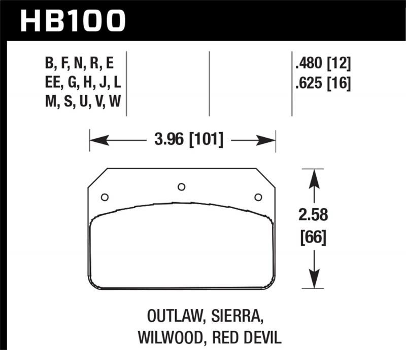 Hawk Performance Disc Brake Pad - HB100S.480