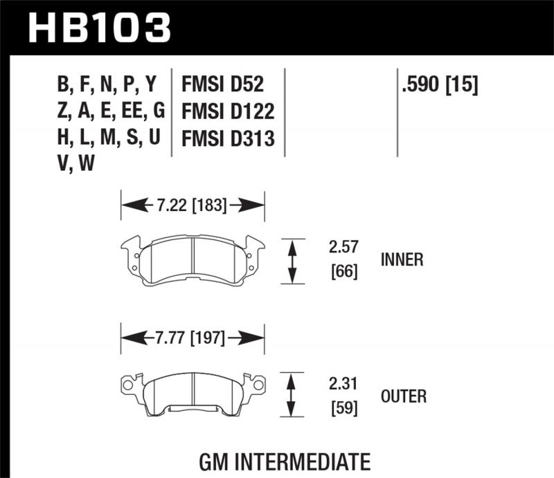 Hawk Performance Disc Brake Pad Front - HB103F.590
