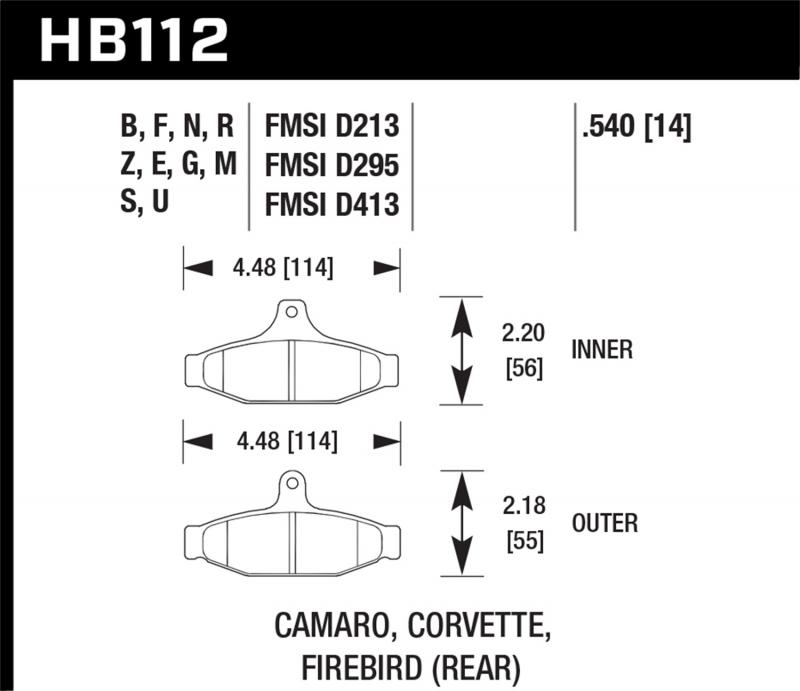 Hawk Performance Disc Brake Pad Rear - HB112F.540