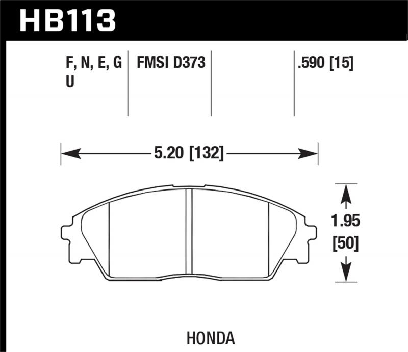 Hawk Performance Disc Brake Pad Honda Front 1.6L 4-Cyl - HB113F.590