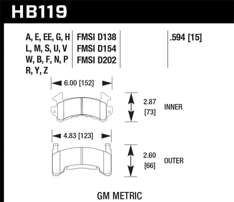 Hawk Performance Disc Brake Pad - HB119F.594