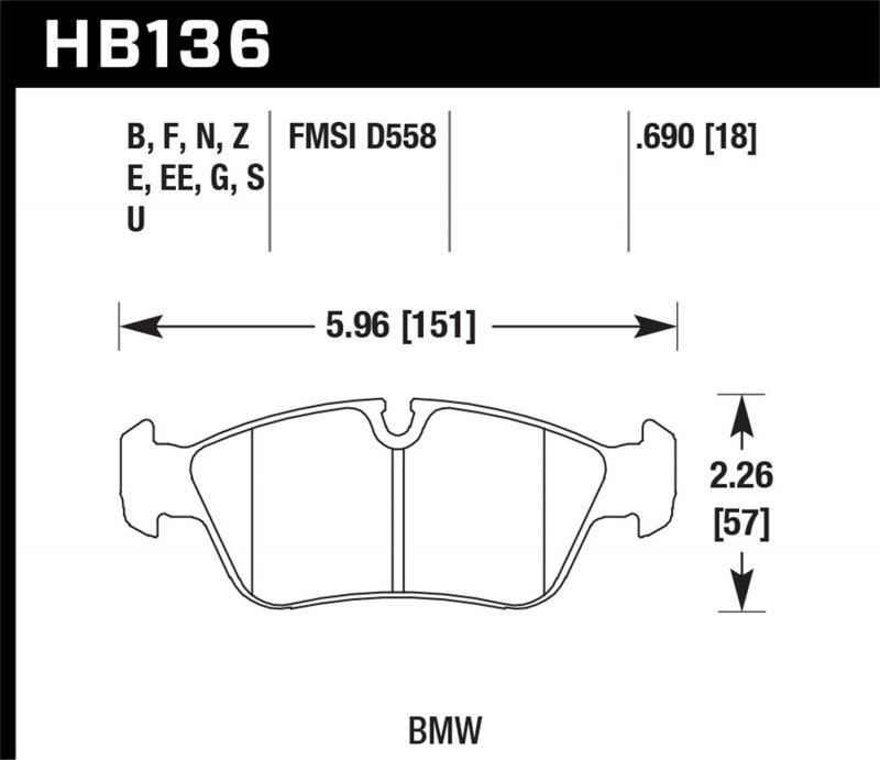 Hawk Performance Disc Brake Pad BMW Front - HB136F.690