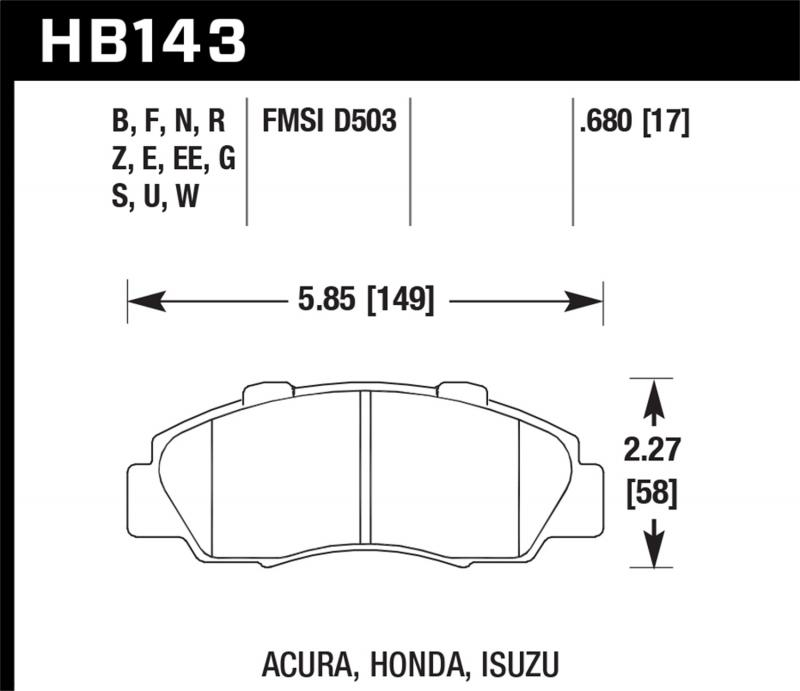 Hawk Performance Disc Brake Pad Front - HB143N.680