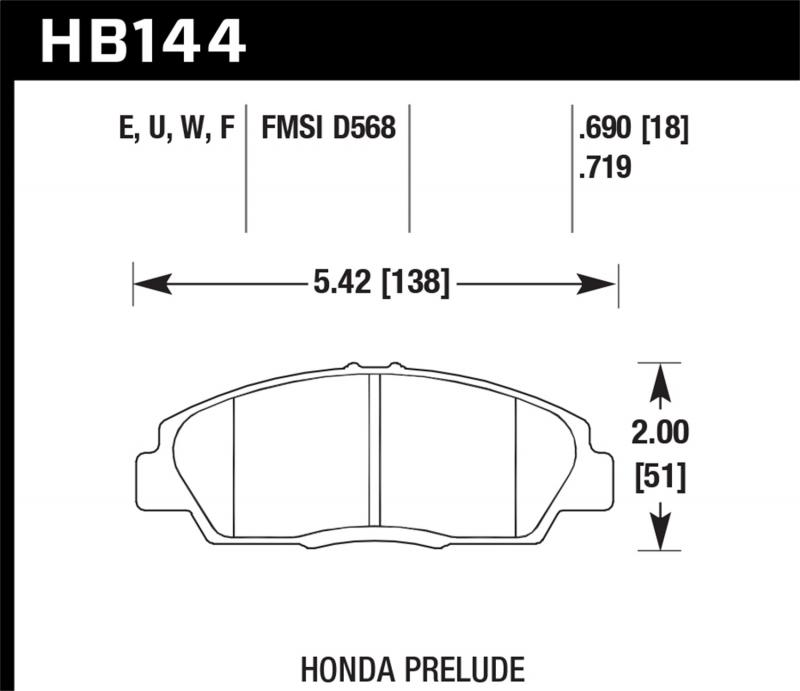 Hawk Performance Disc Brake Pad Honda Prelude Front 1992-1996 - HB144F.719