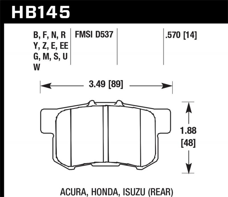 Hawk Performance Disc Brake Pad Rear - HB145N.570