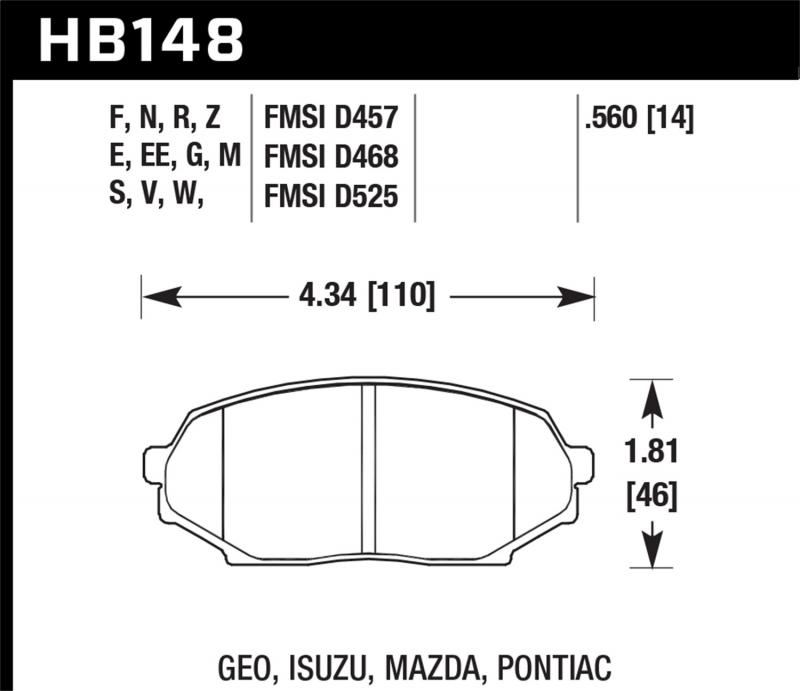 Hawk Performance Disc Brake Pad Mazda Miata Front 1990-1993 - HB148F.560