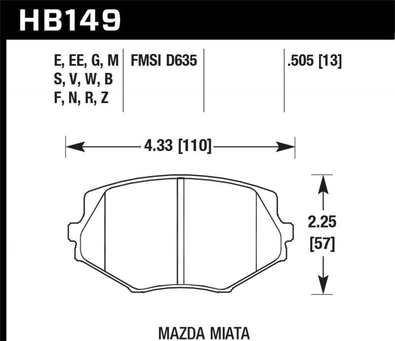 Hawk Performance Disc Brake Pad Mazda Miata Front - HB149F.505