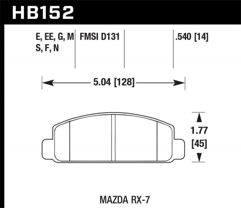 Hawk Performance Disc Brake Pad Mazda RX-7 Front 1984-1991 1.3L 2-Cyl - HB152F.540