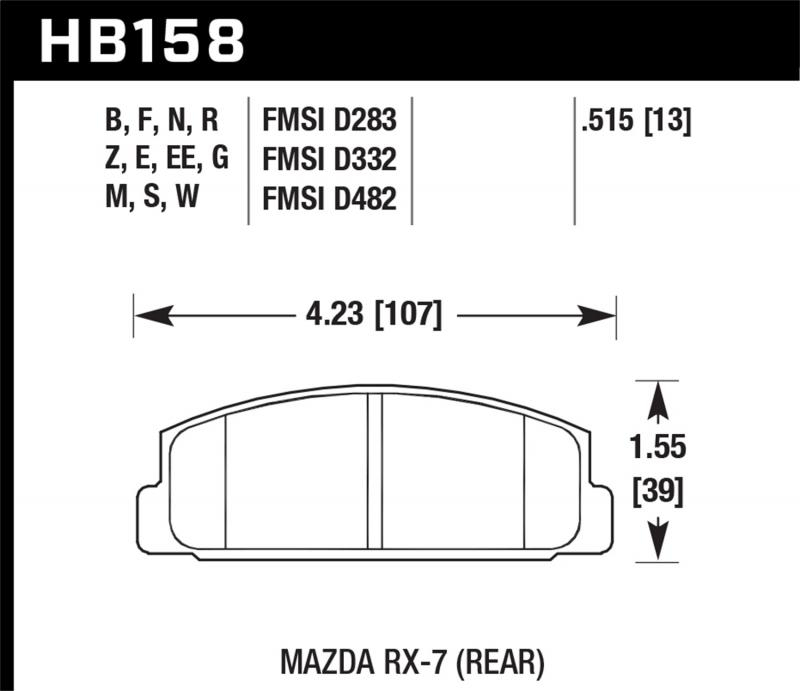 Hawk Performance Disc Brake Pad Mazda Rear - HB158F.515