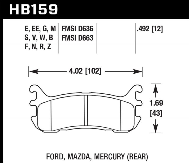 Hawk Performance Disc Brake Pad Rear - HB159F.492