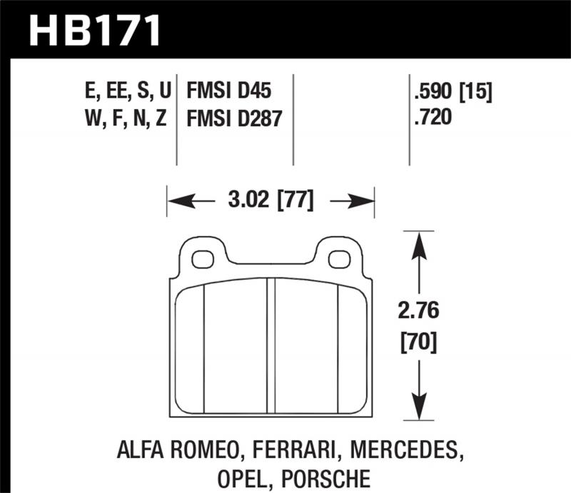 Hawk Performance Disc Brake Pad Front - HB171F.590