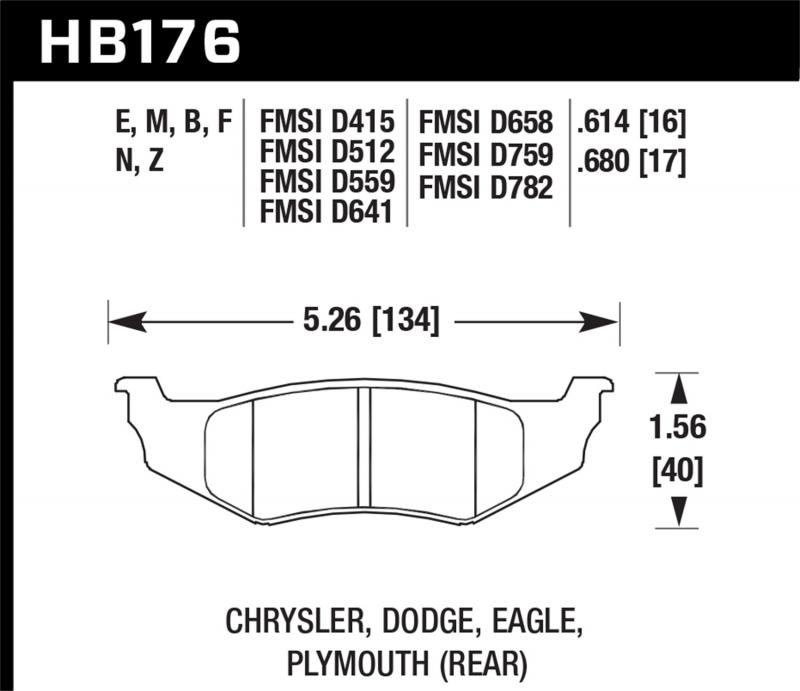 Hawk Performance Disc Brake Pad Rear - HB176F.614
