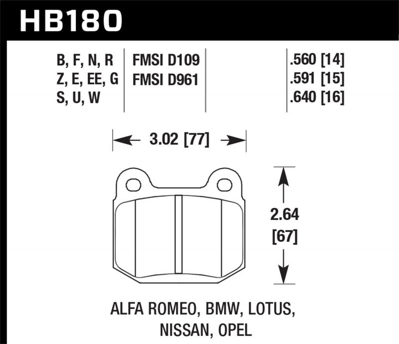 Hawk Performance Disc Brake Pad Rear - HB180F.640