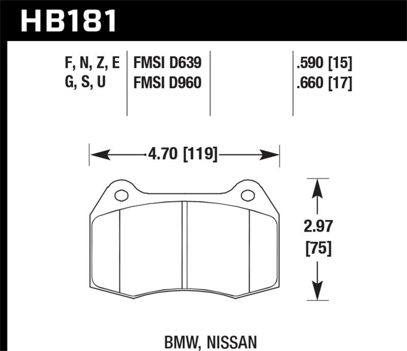 Hawk Performance Disc Brake Pad Front - HB181F.660