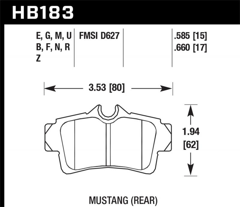 Hawk Performance Disc Brake Pad Ford Mustang Rear - HB183F.585