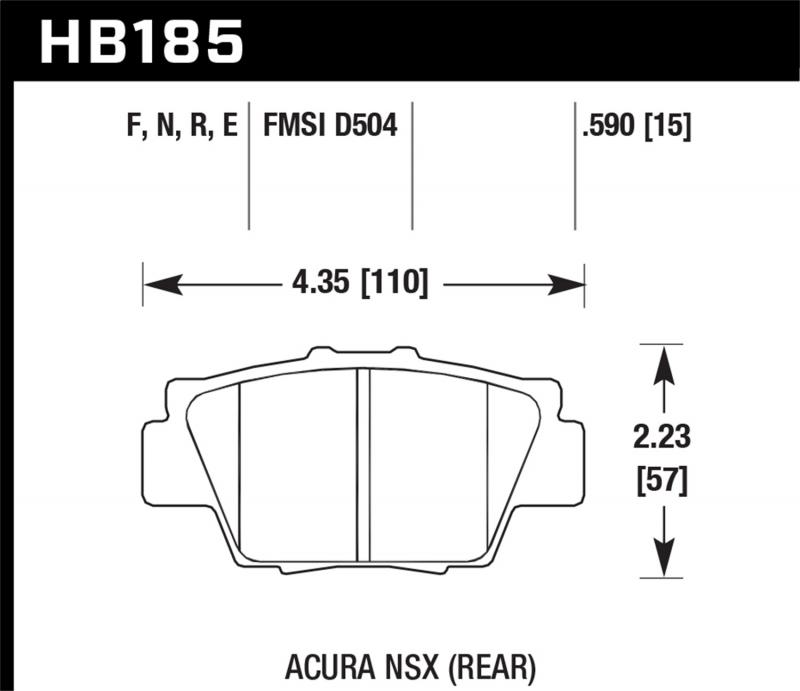 Hawk Performance Disc Brake Pad Acura NSX Rear - HB185N.590