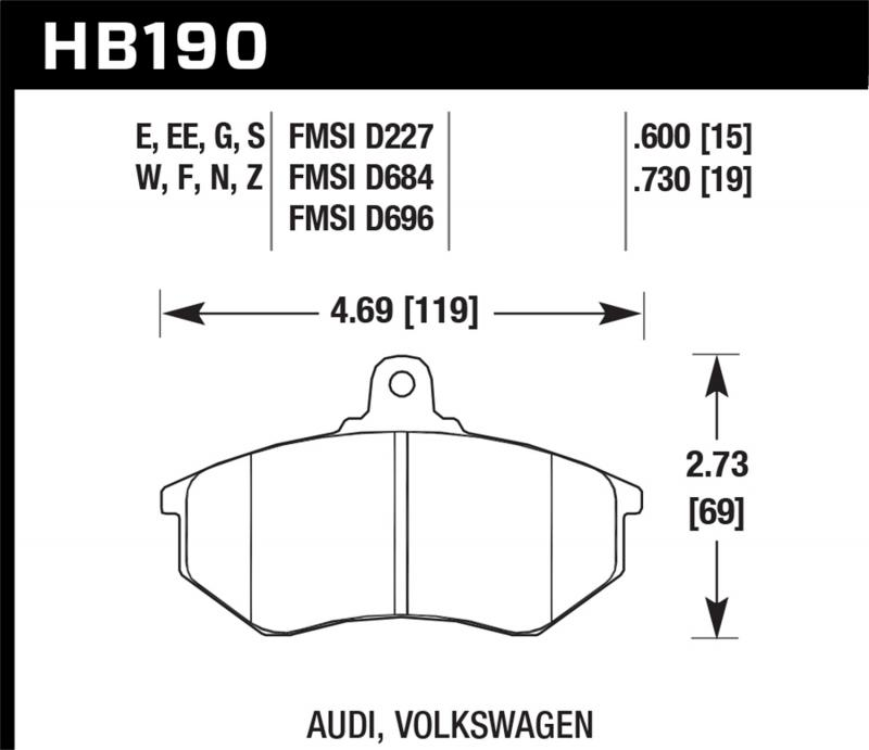 Hawk Performance Disc Brake Pad Front - HB190F.600A