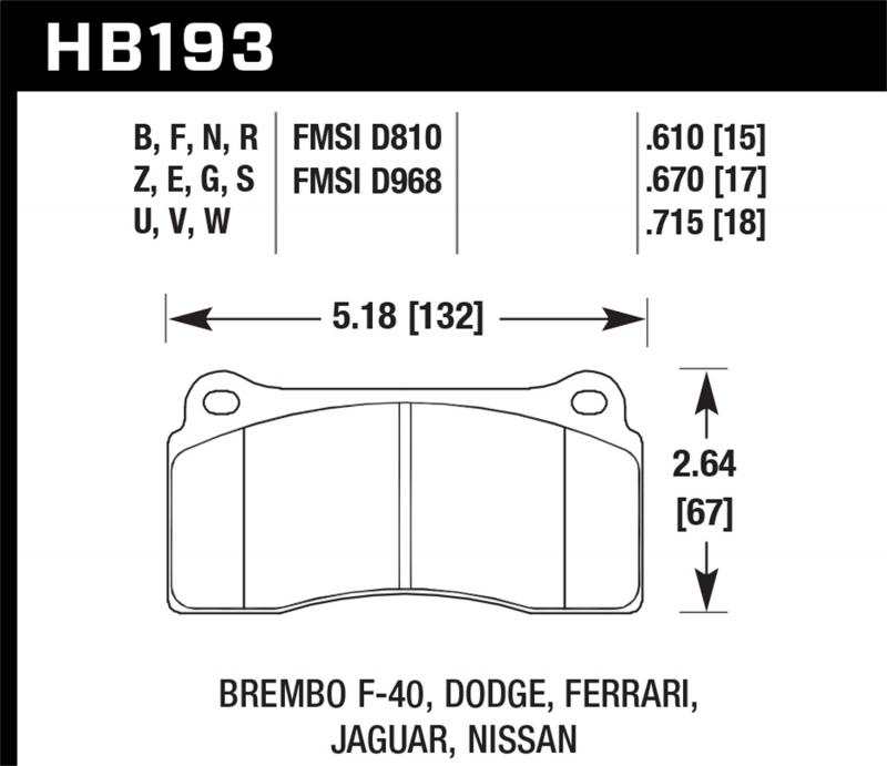 Hawk Performance Disc Brake Pad - HB193G.670