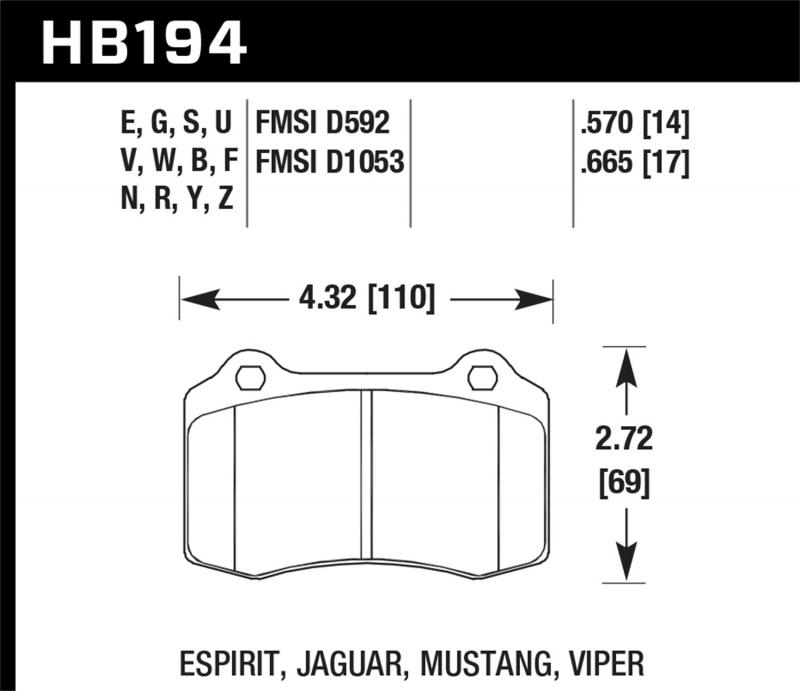 Hawk Performance Disc Brake Pad Front - HB194F.665
