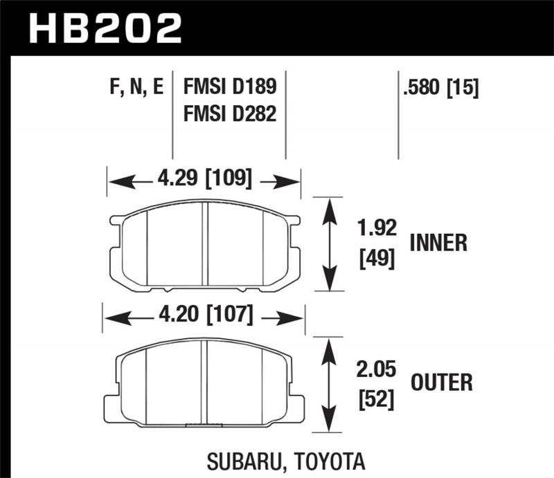 Hawk Performance Disc Brake Pad Toyota Corolla Front 1985-1987 1.6L 4-Cyl - HB202F.580
