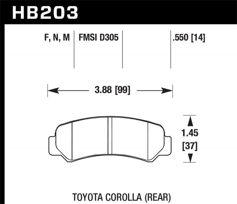 Hawk Performance Disc Brake Pad Toyota Corolla Rear 1985-1987 1.6L 4-Cyl - HB203F.550