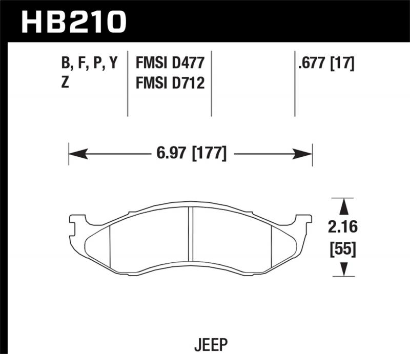 Hawk Performance Disc Brake Pad Jeep Front - HB210F.677