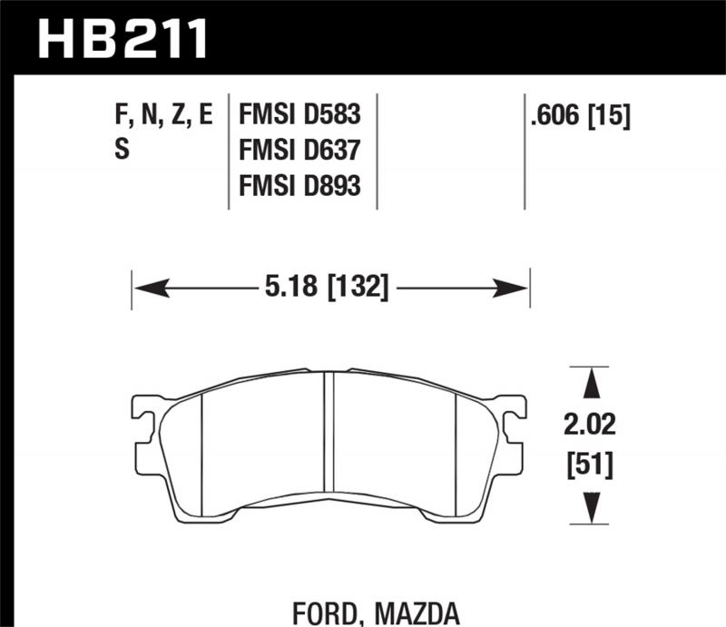 Hawk Performance Disc Brake Pad Front - HB211F.606
